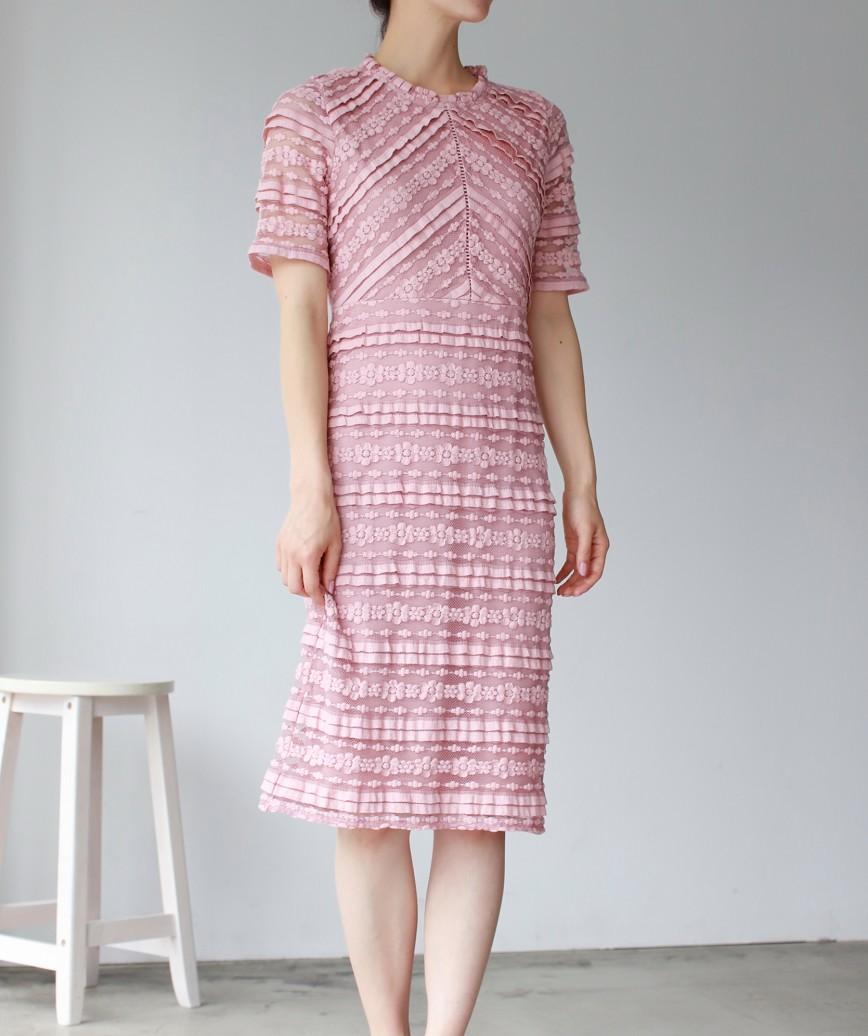 ストライプレースタイトラインミディアムドレス-ピンク-S