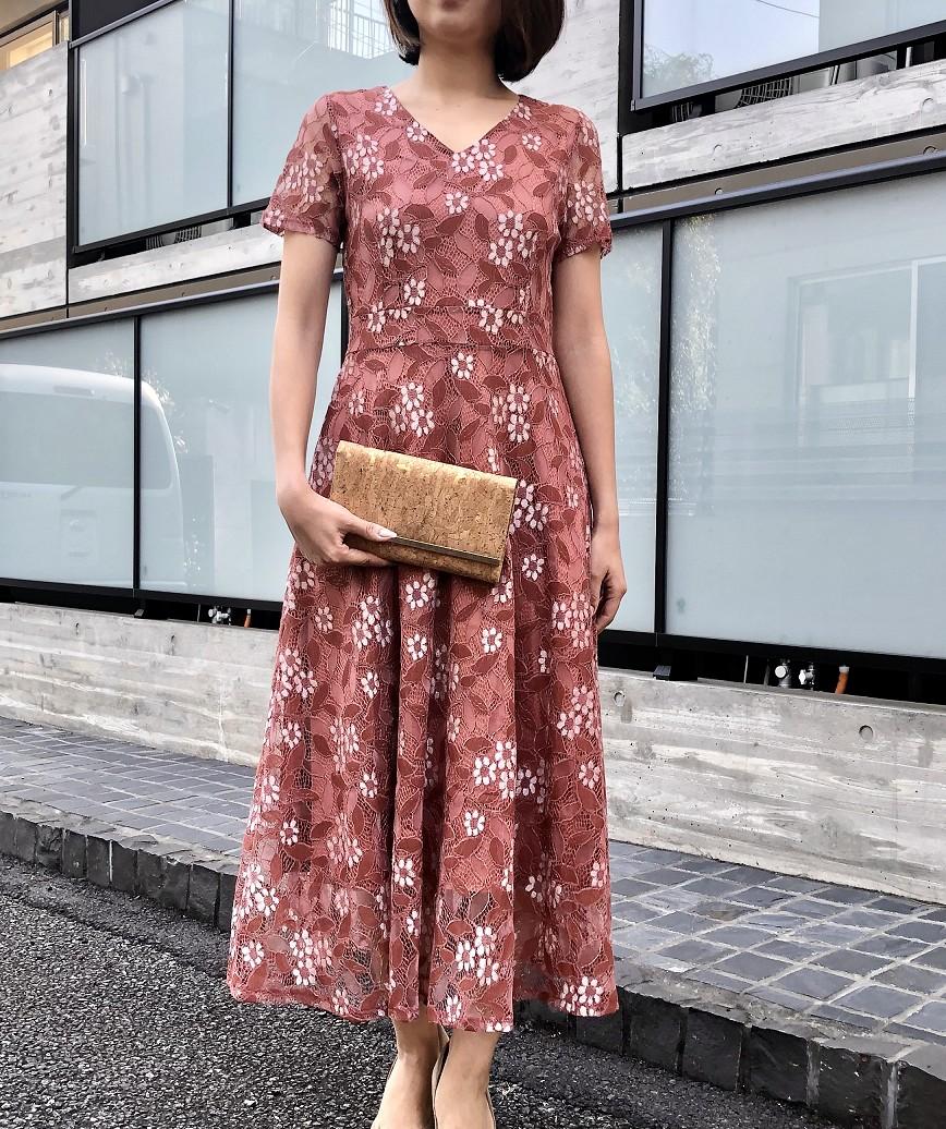 フラワーフルレースAラインミディアムドレス-ピンク-S