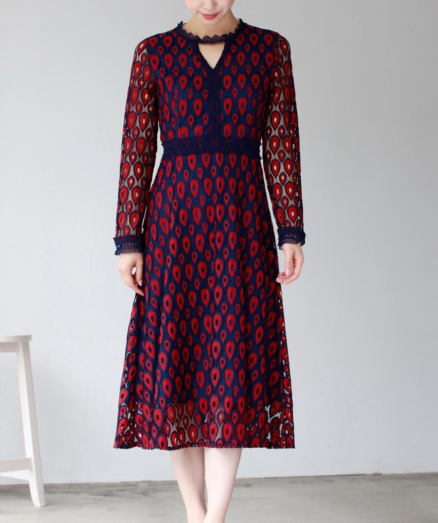 フルパターンピーコックレースミディアムドレス-レッド-S