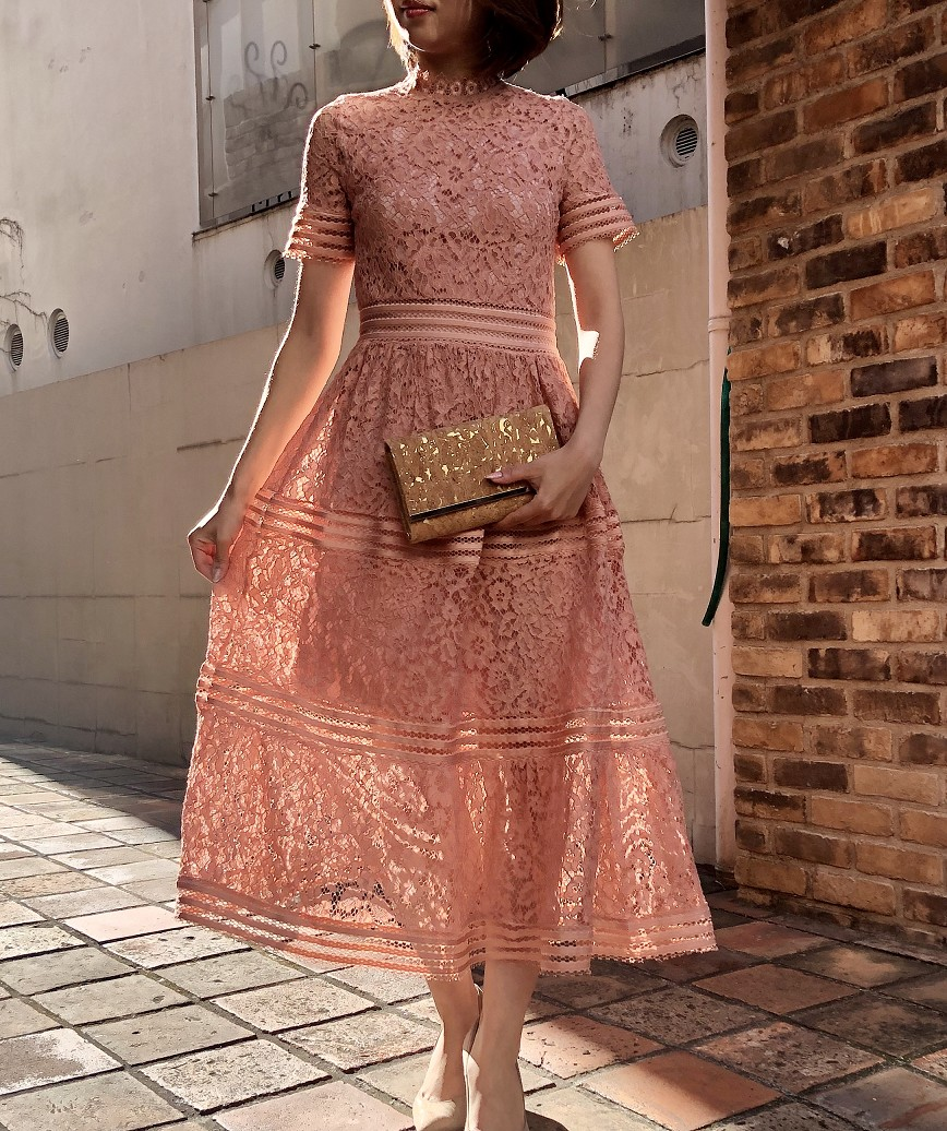 ハイネックフルレースAラインミディアムドレス-ピンク-S