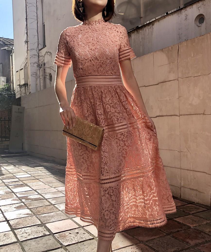 ハイネックフルレースAラインミディアムドレス-ピンク-M
