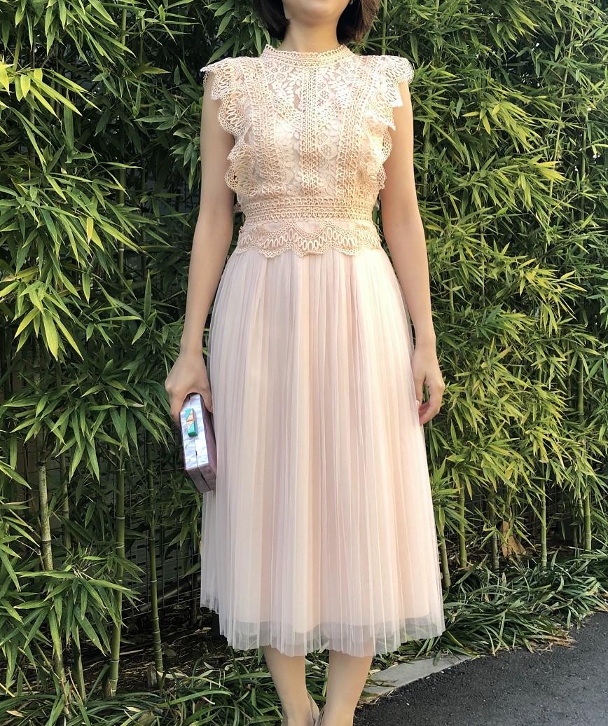 フリルスリーブチュールプリーツミディアムドレス-ピンク-S