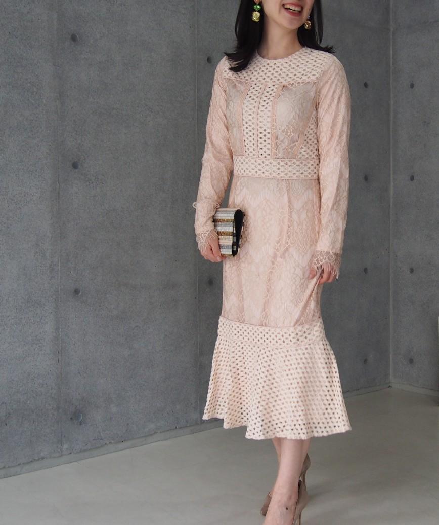 パネルレースレイヤードミディアムドレス-ピンク-S