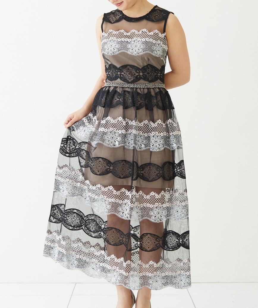 レースストライプAラインロングドレス―ベージュ-S-M