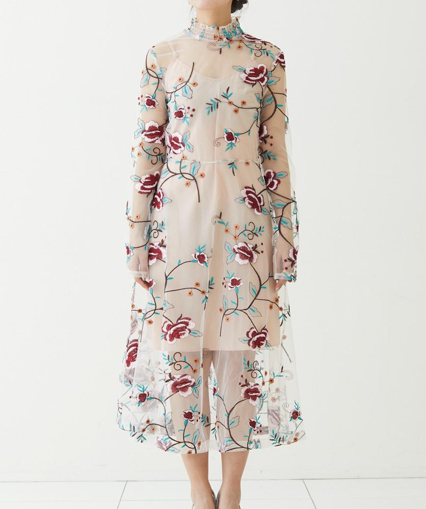 マルチフラワーハイネックミディアムドレス-ベージュ-S