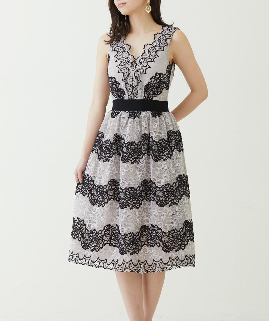 2トーンVネックミディアムドレス-ベージュ-S-M