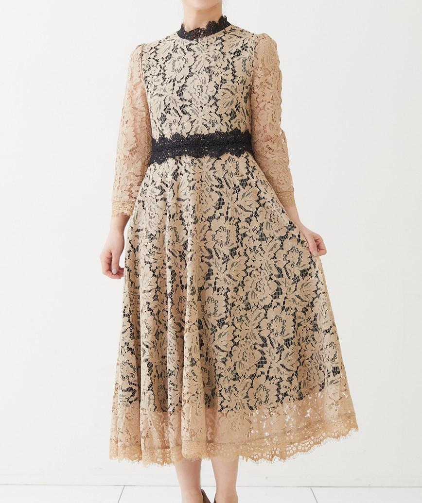 カラーブロック総レースミディアムドレス-ベージュ-S