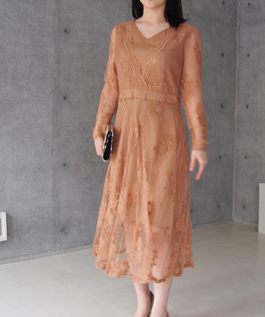 フルレースVネックアンティークミディアムドレス-ベージュ-S-M