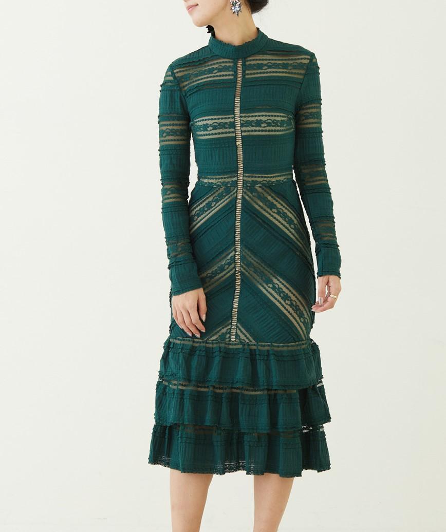 ハイネックレースフリルミディアムドレス-グリーン-M