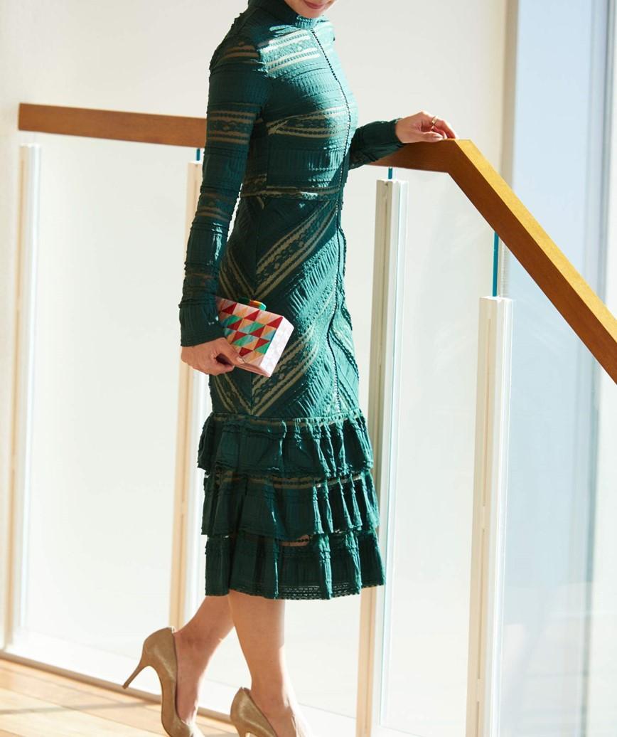ハイネックレースフリルミディアムドレス-グリーン-S