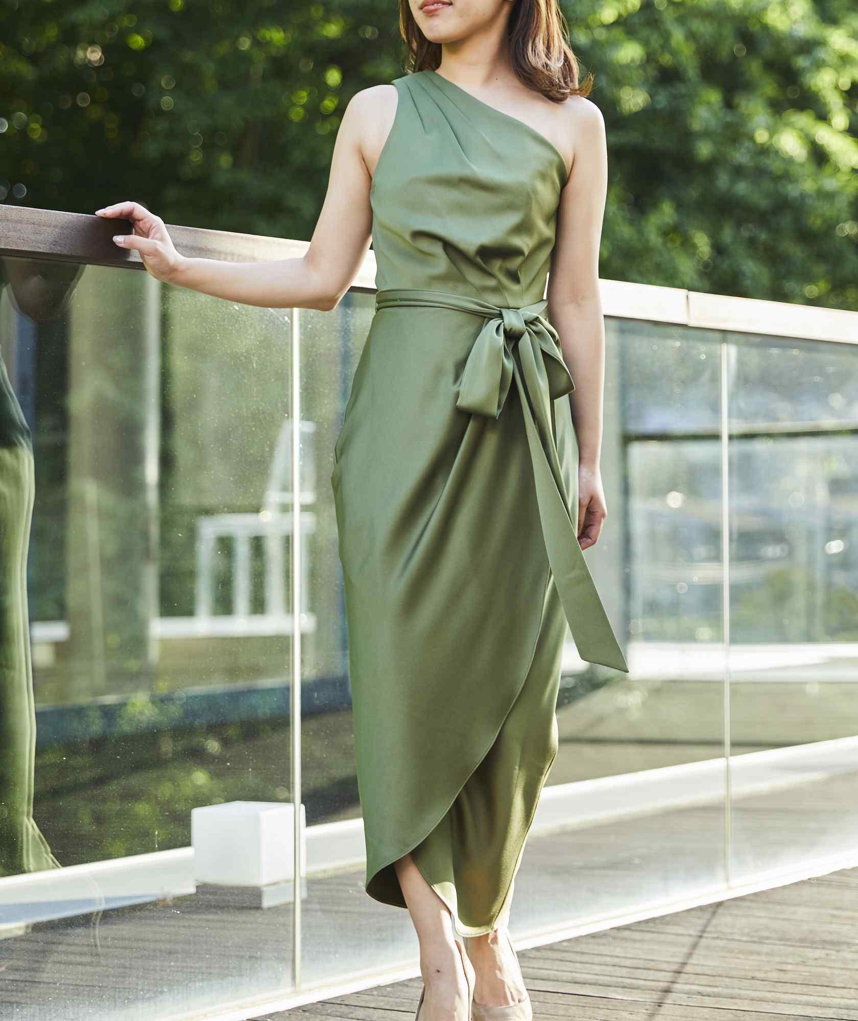 ワンショルダードレープミディアムドレス-グリーン-S