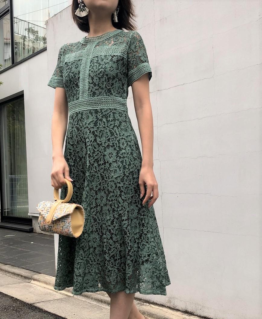 フルレースAラインフラワーミディアムドレス -グリーン-S