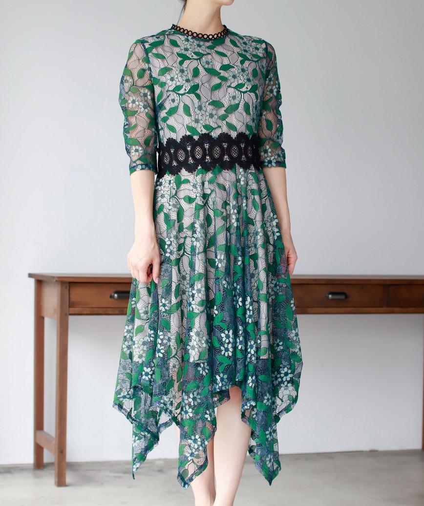 リーフモチーフアシンメトリーミディアムドレス-グリーン-S-M