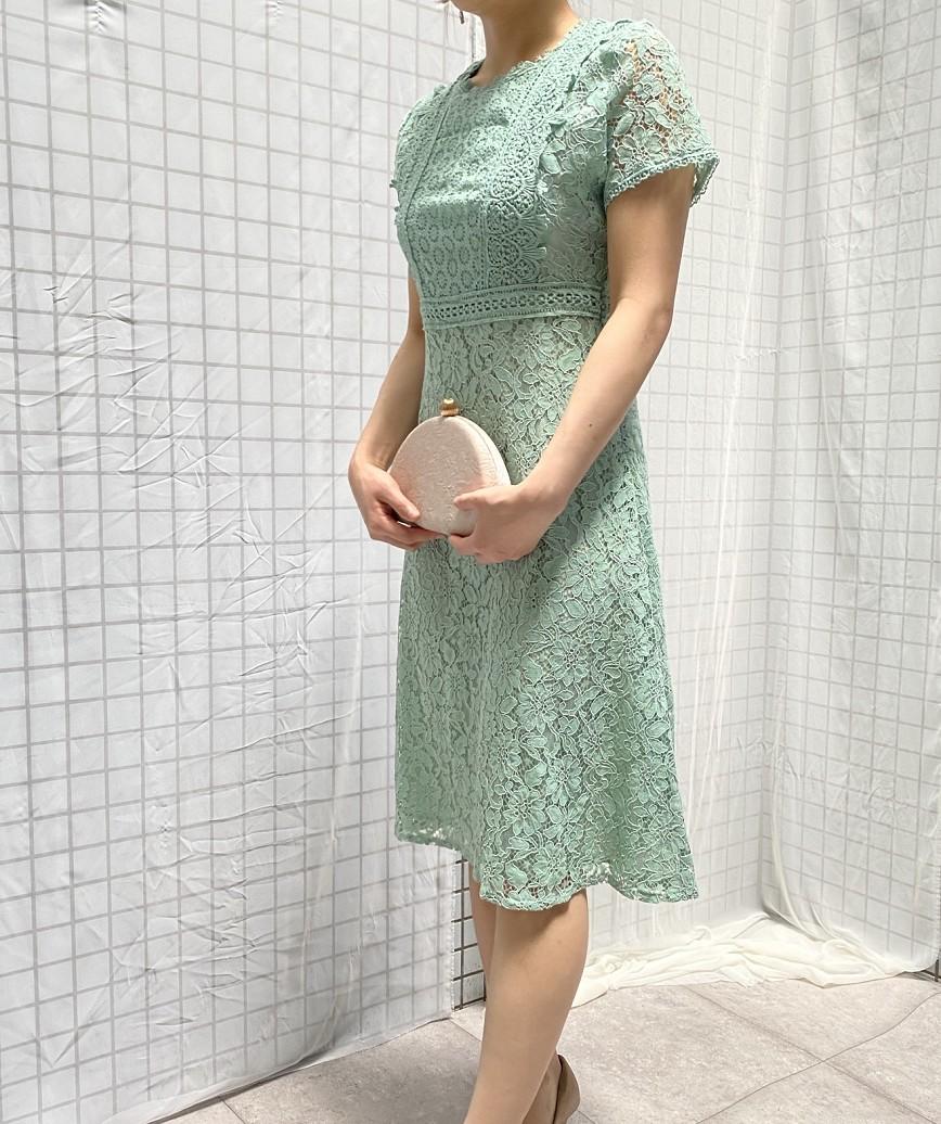 パネルフルレースクルーネックミディアムドレス-グリーン-S