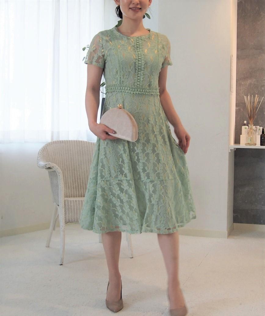 クルーネックフルレースゴールドラメミディアムドレス-グリーン-M