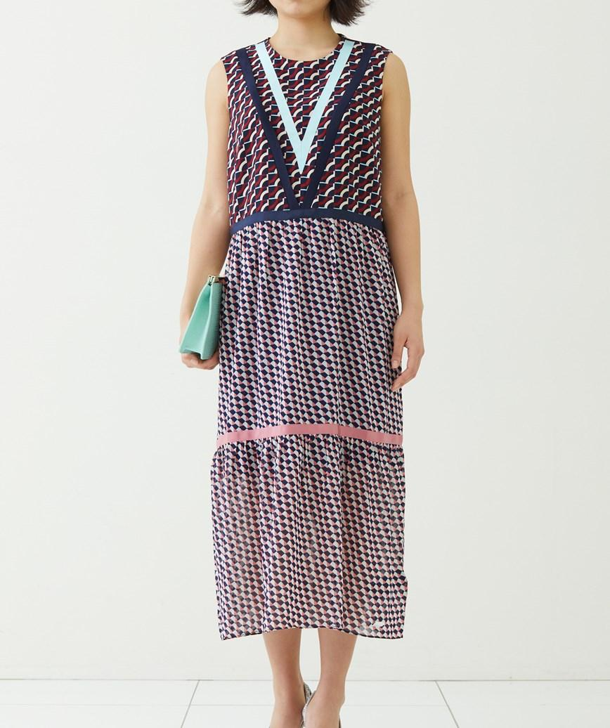マルチカラーミディアムドレス―マルチカラー-S-M