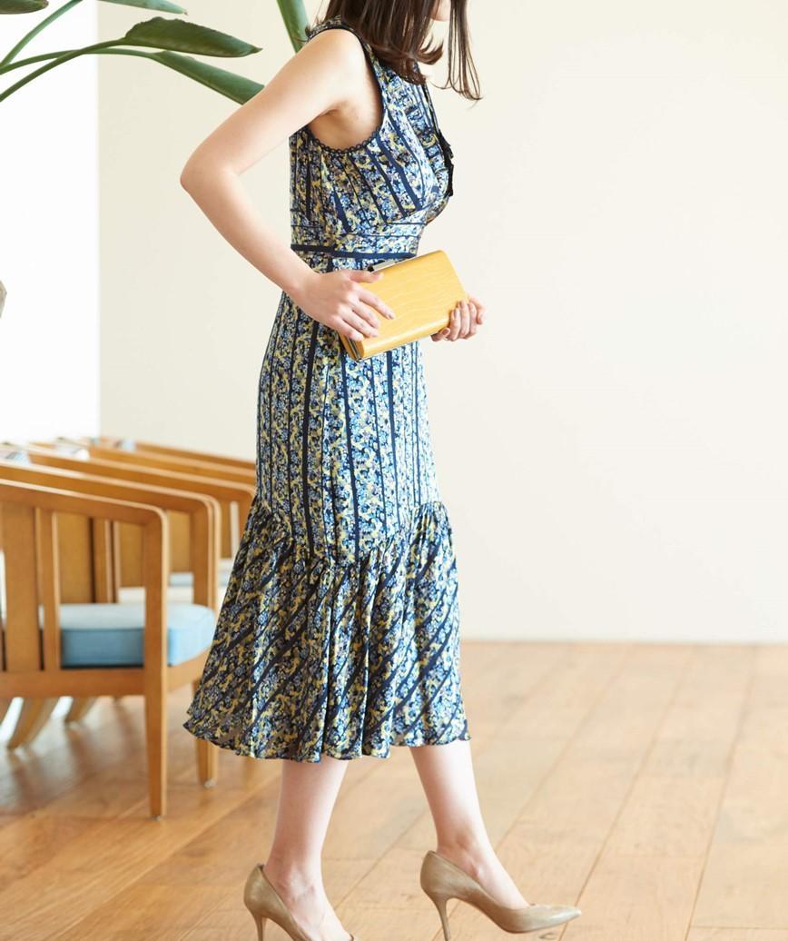 フローラルプリントサテンミディアムドレス-マルチ-S-M