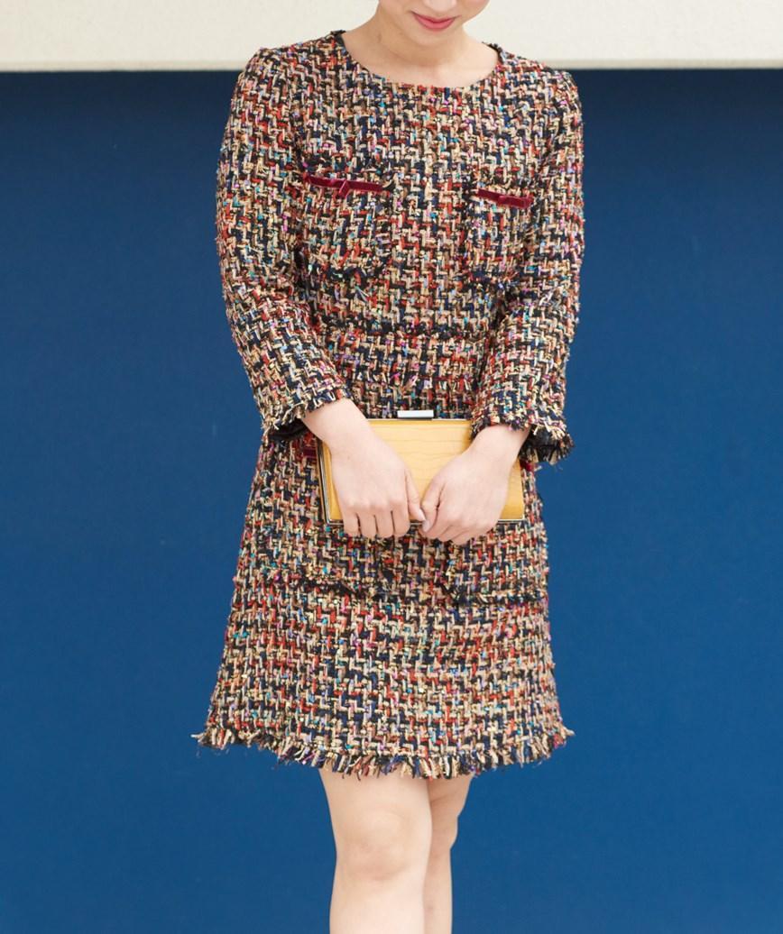ツイードライクマルチショートドレス-マルチ-S