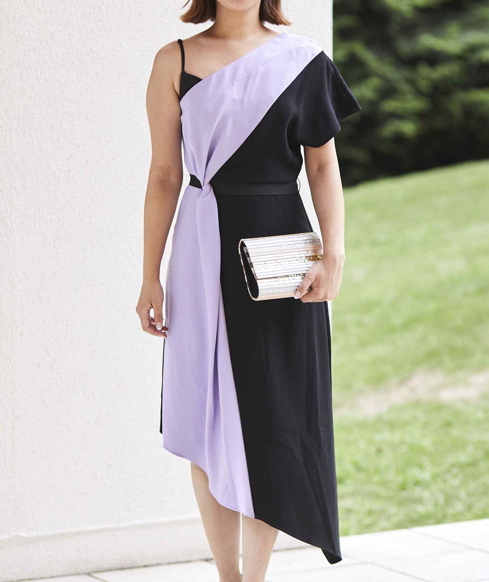 2トーンアシンメトリーミディアムドレス-マルチ-S
