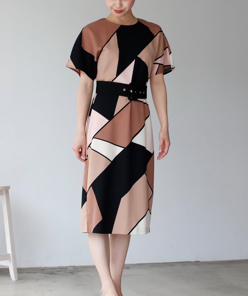 ブロッキングカラークルーベルトミディアムドレス-マルチ-M-L