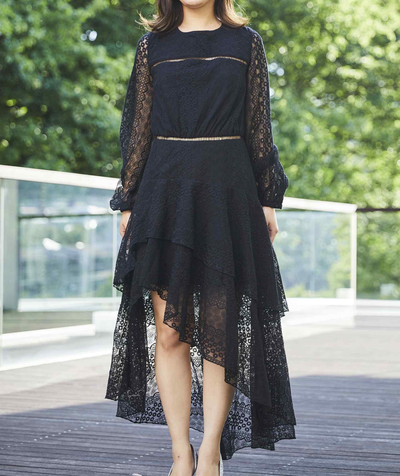 アシンメトリーフルスリーブミディアムドレス-ブラック-M