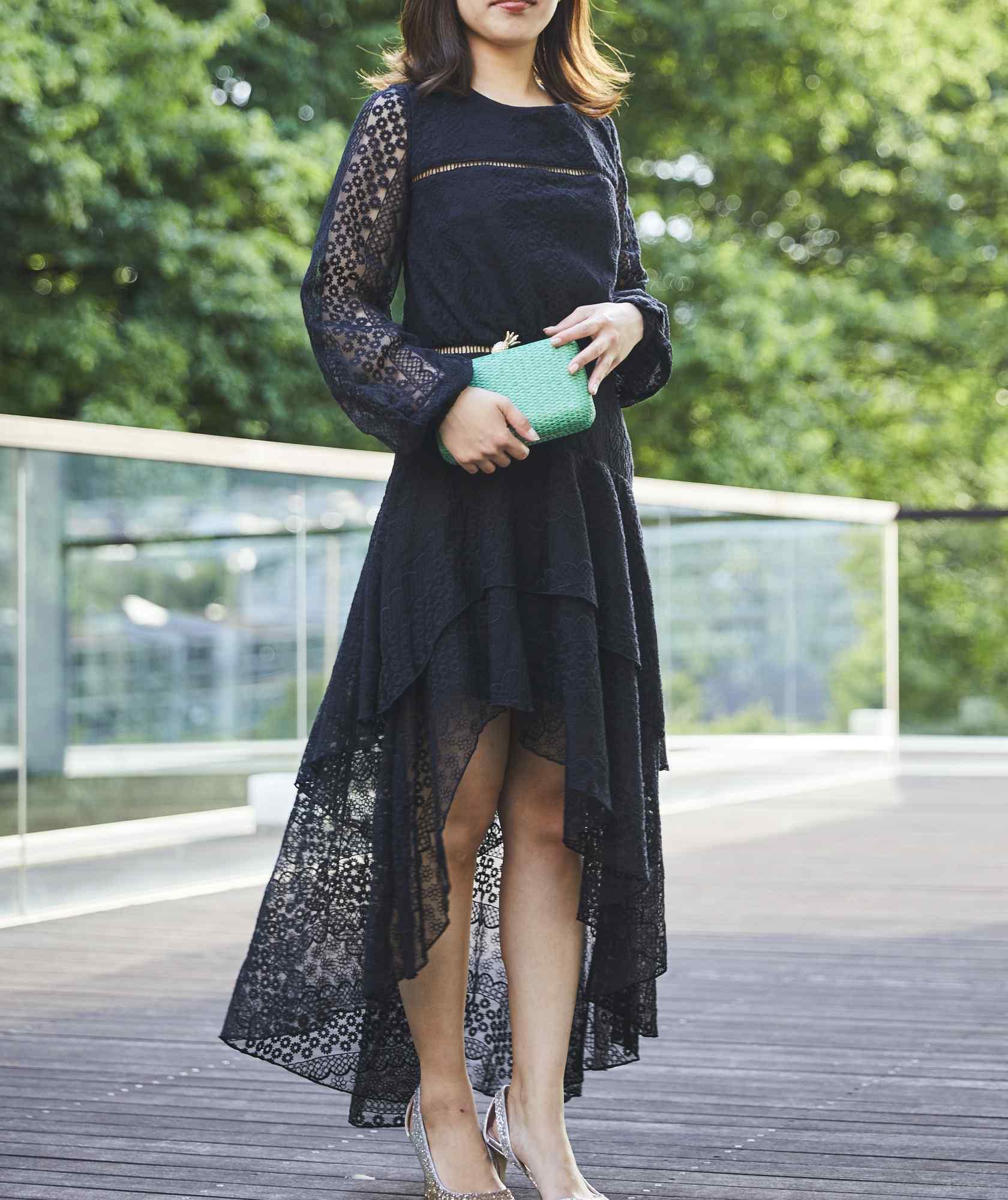 アシンメトリーフルスリーブミディアムドレス-ブラック-L