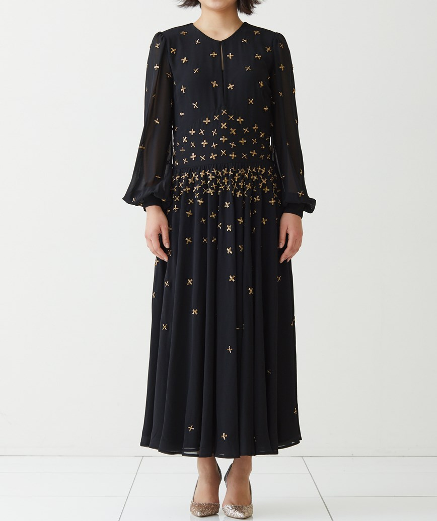 スタッズエンブロイダリーシフォンロングドレス―ブラック-M-L