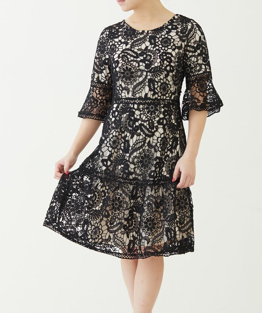 クローシュミディアムスリーブインナーカラードレス―ブラック-M