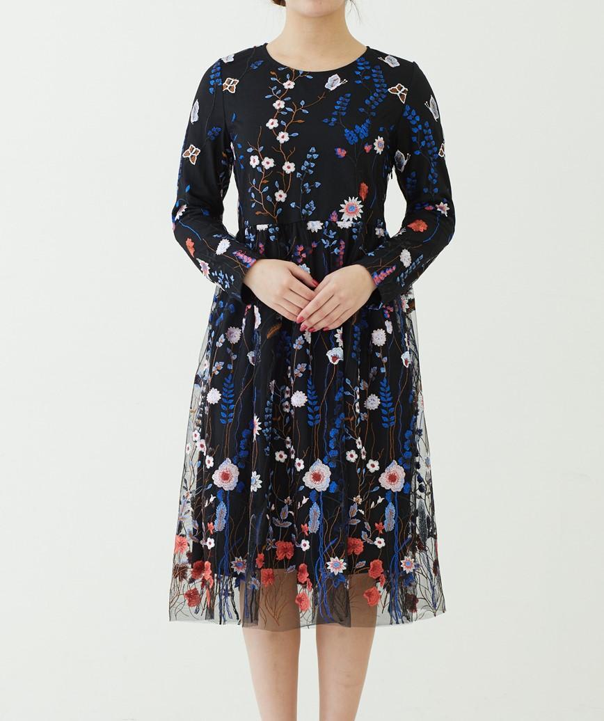 フラワーエンブロイダリーミディアムドレス―ブラック-M