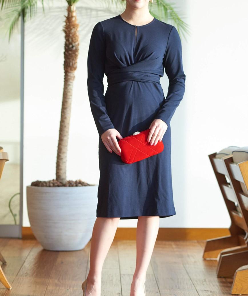 ウエストノットフルスリーブショートドレス―ブラック-M