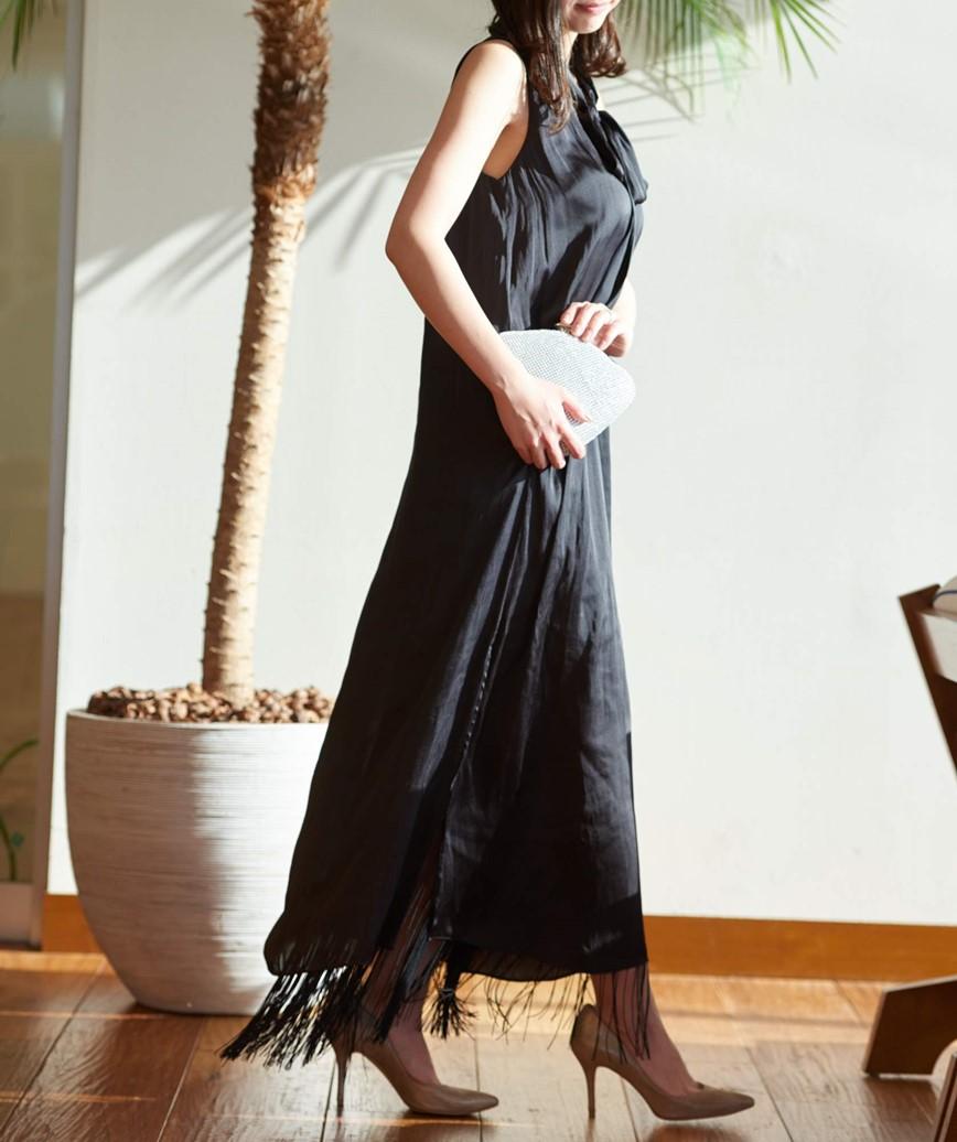 ボウタイフリンジロングドレス―ブラック-M
