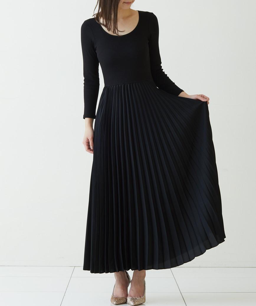 プリーツスカートクルーネックロングドレス―ブラック-M