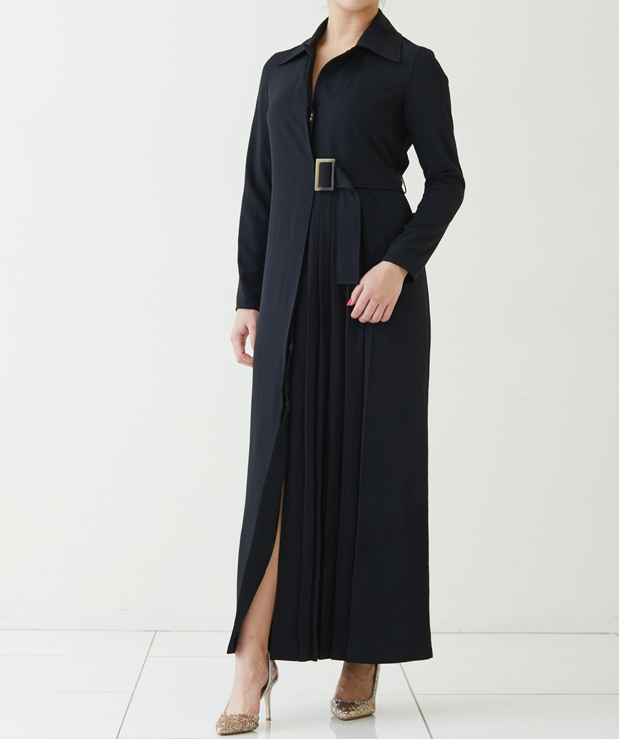 サイドベルトプリーツパートロングドレス―ブラック-M
