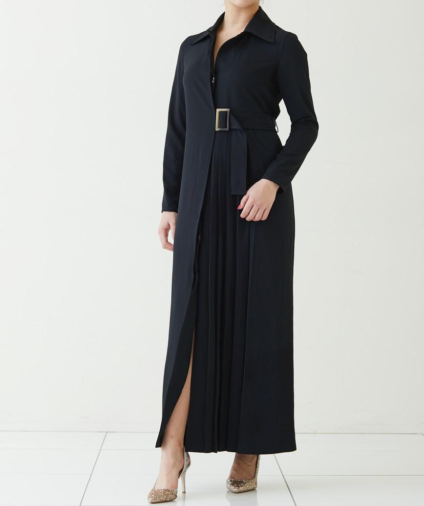 サイドベルトプリーツパートロングドレス―ブラック-L