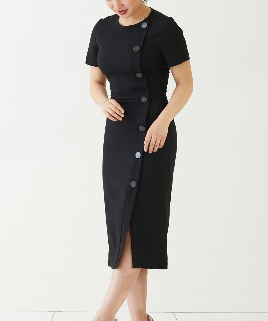 ショートスリーブフロントボタンミディアムドレス―ブラック-L