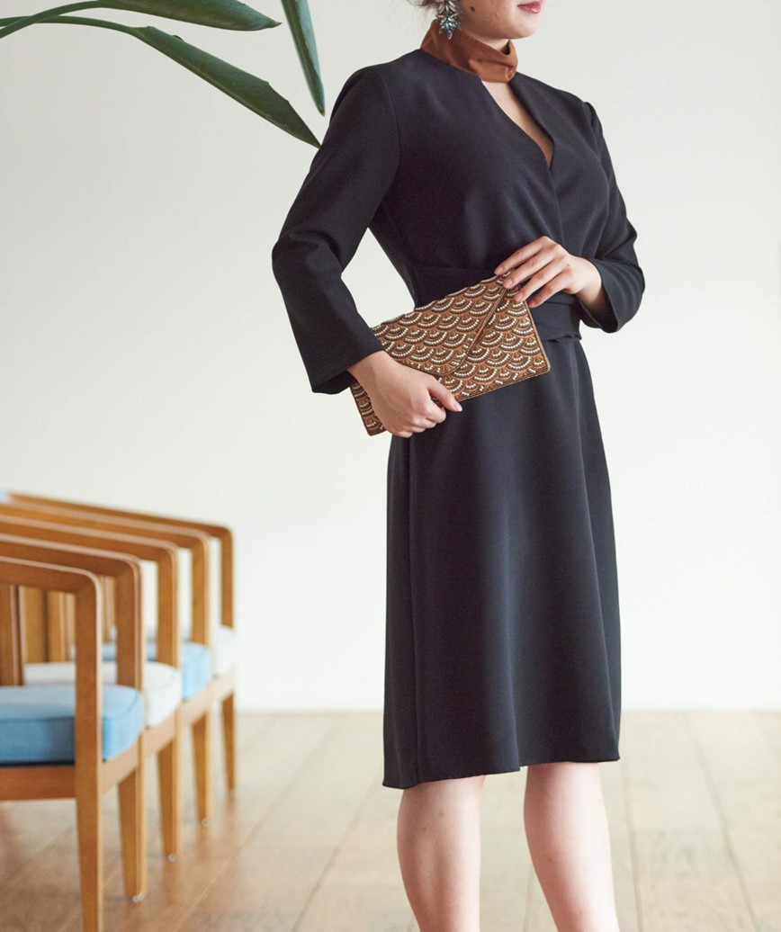 ハイネックバイカラーミディアムドレス-ブラック-M-L