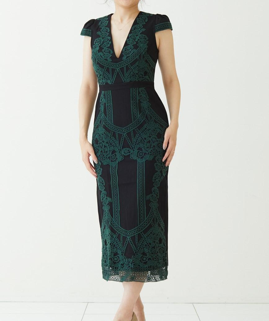 グリーンエンブロイダリーミディアムドレス―ブラック-M-L