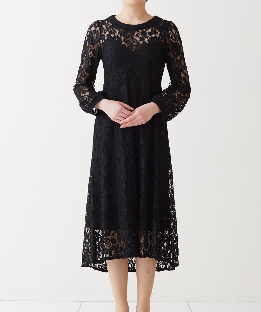 クルーハイネック総レースミディアムドレス-ブラック-M