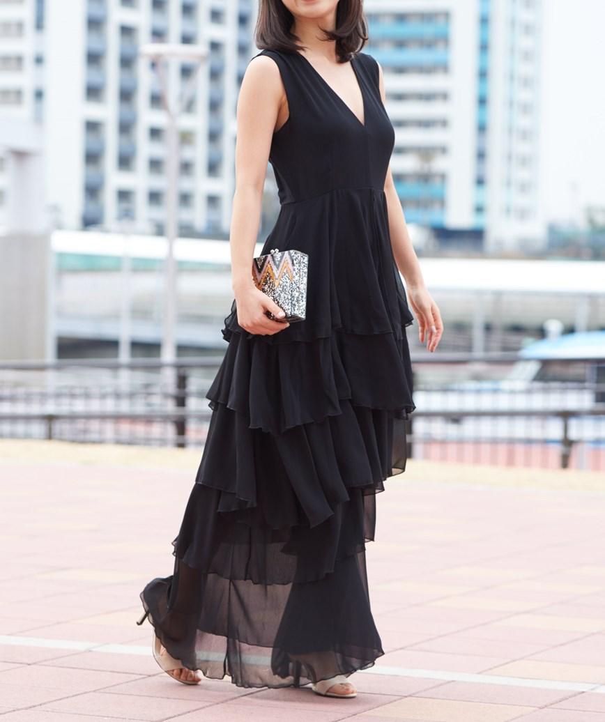 スリーブレスレイヤードロングドレス-ブラック-M