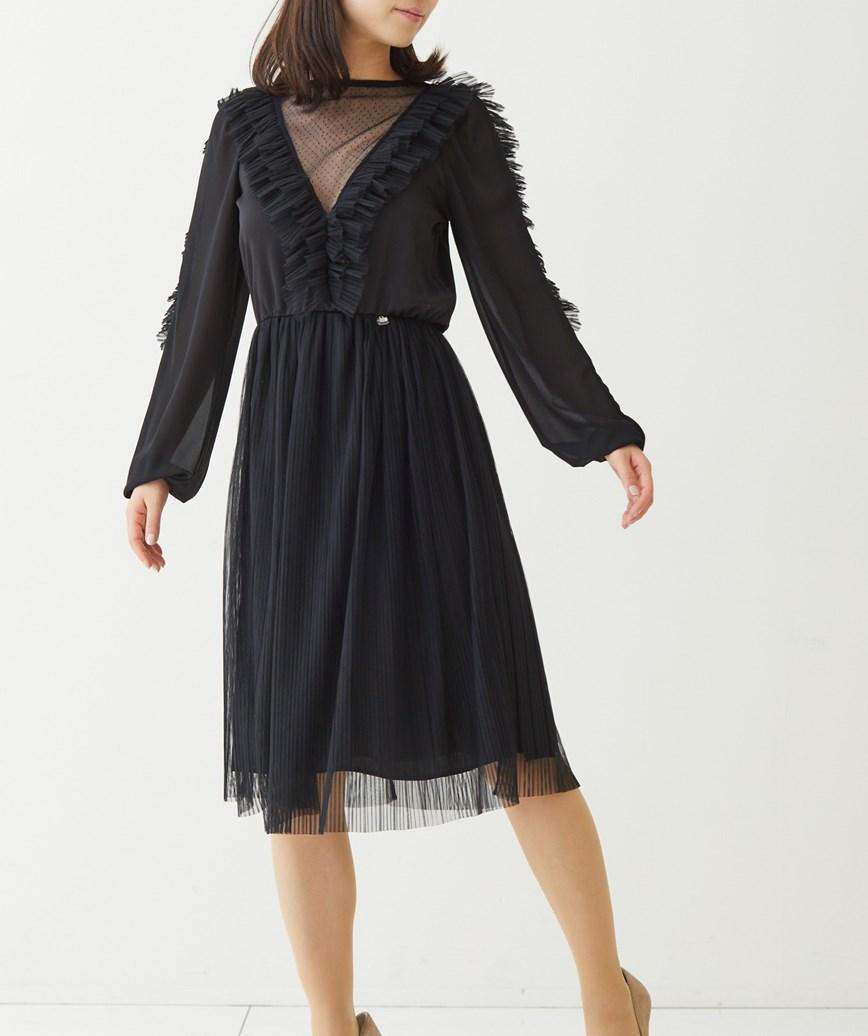 ショルダーフリンジチュールミディアムドレス―ブラック-L
