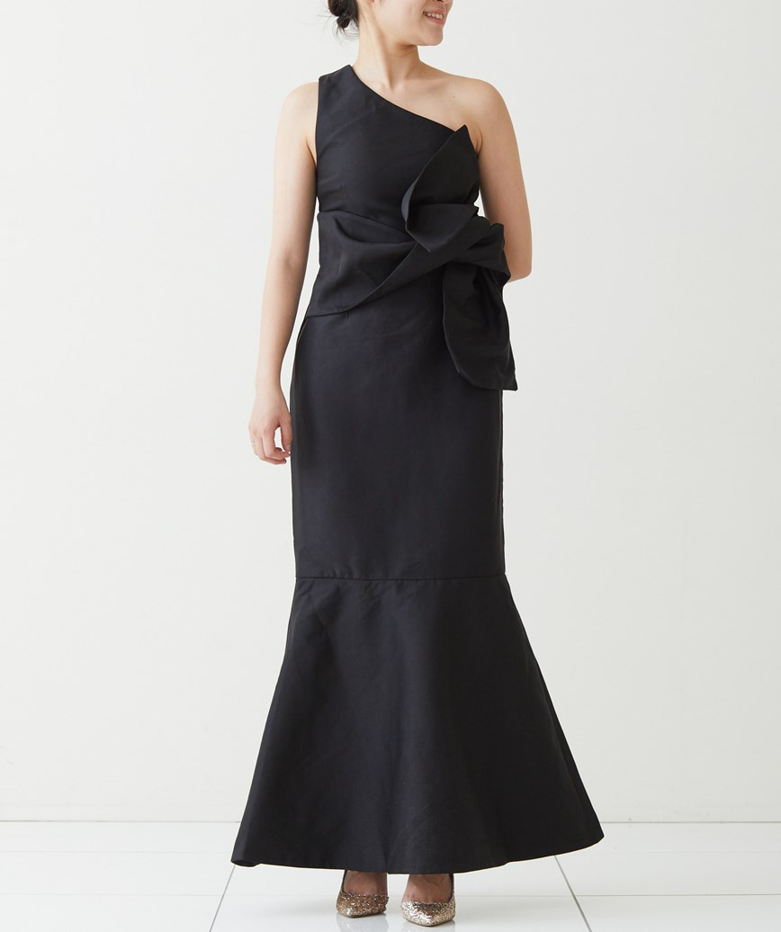 ワンショルダーマーメイロングドレス―ブラック-M