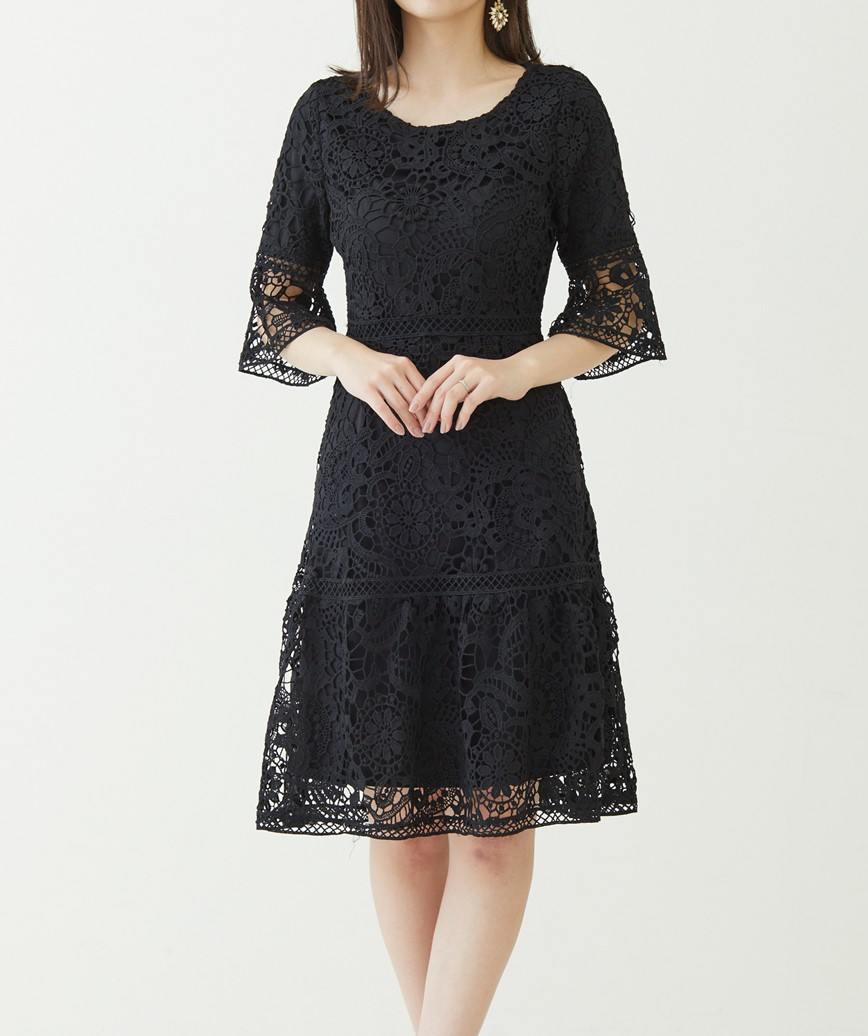 クローシュミディアムスリーブドレス―ブラック-M