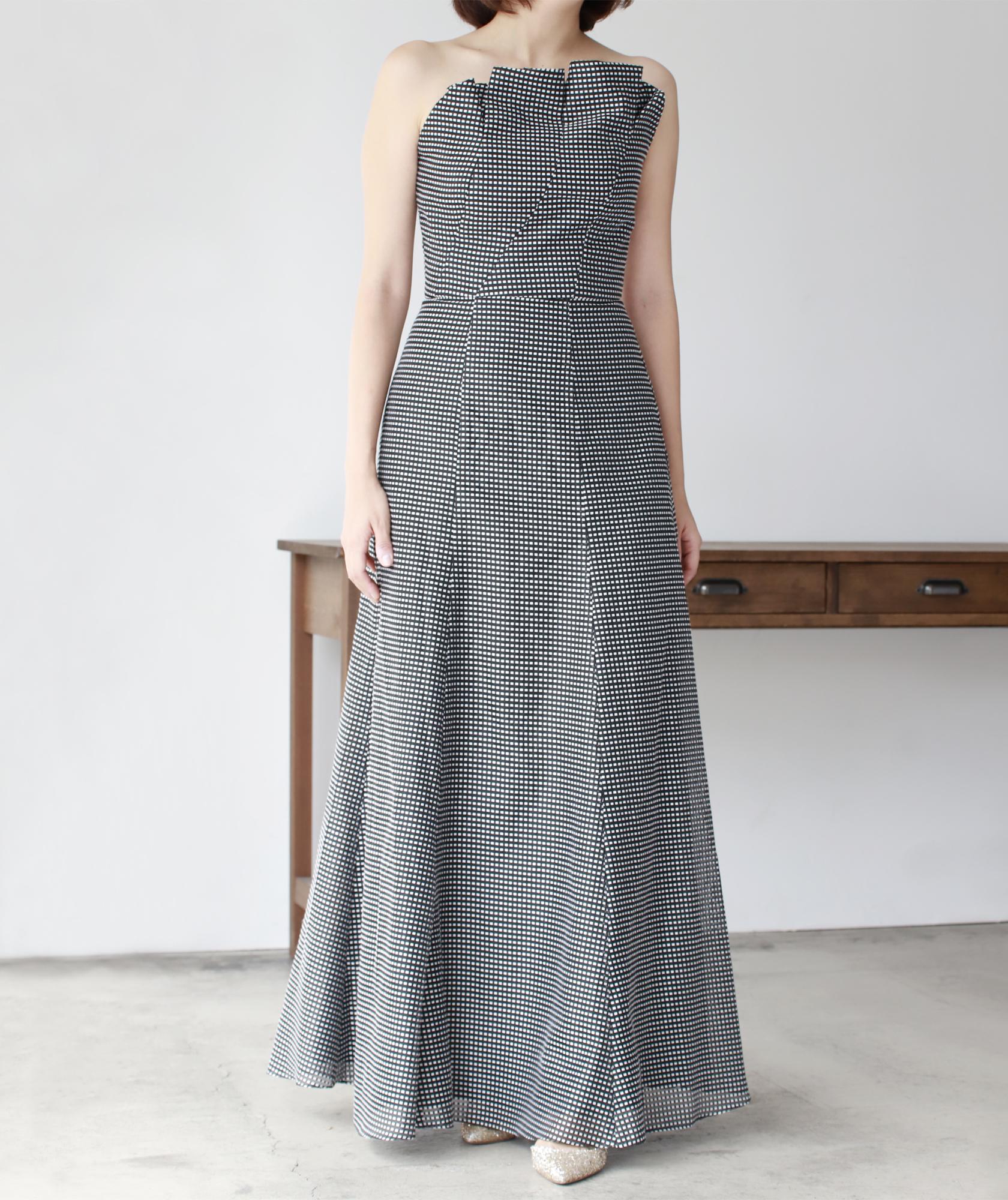 フルチェックセミAラインベアロングドレス-ブラック-S