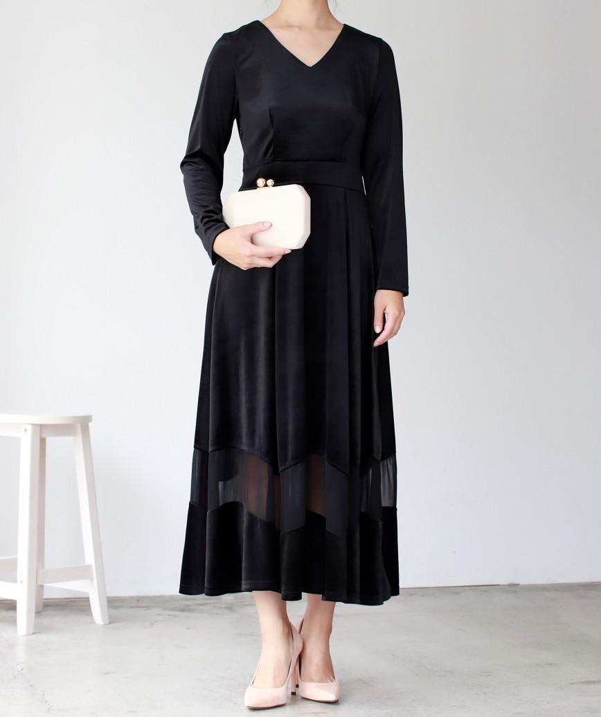 ベロアVネックフルスリーブロングドレス-ブラック-M-L