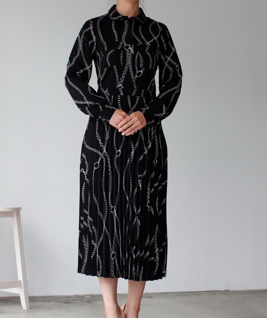 チェーンプリントシャツプリーツミディアムドレス-ブラック-M