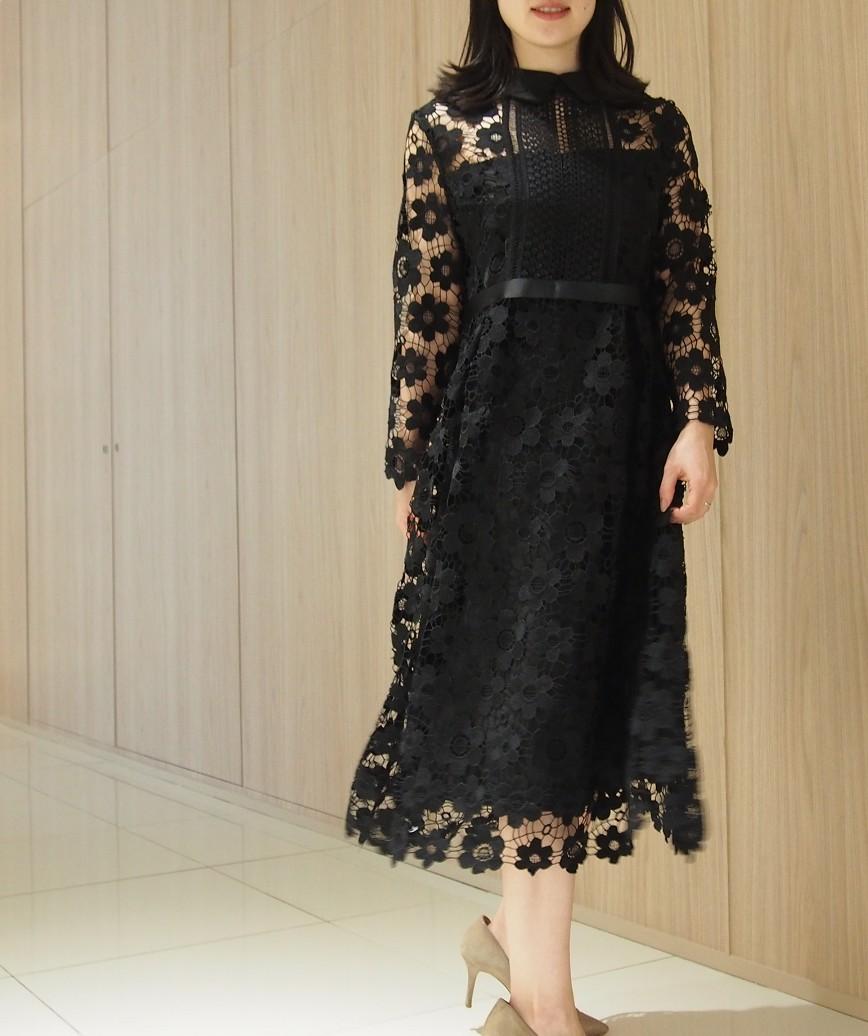カラーフラワーレースロングスリーブミディアムドレス-ブラック-M