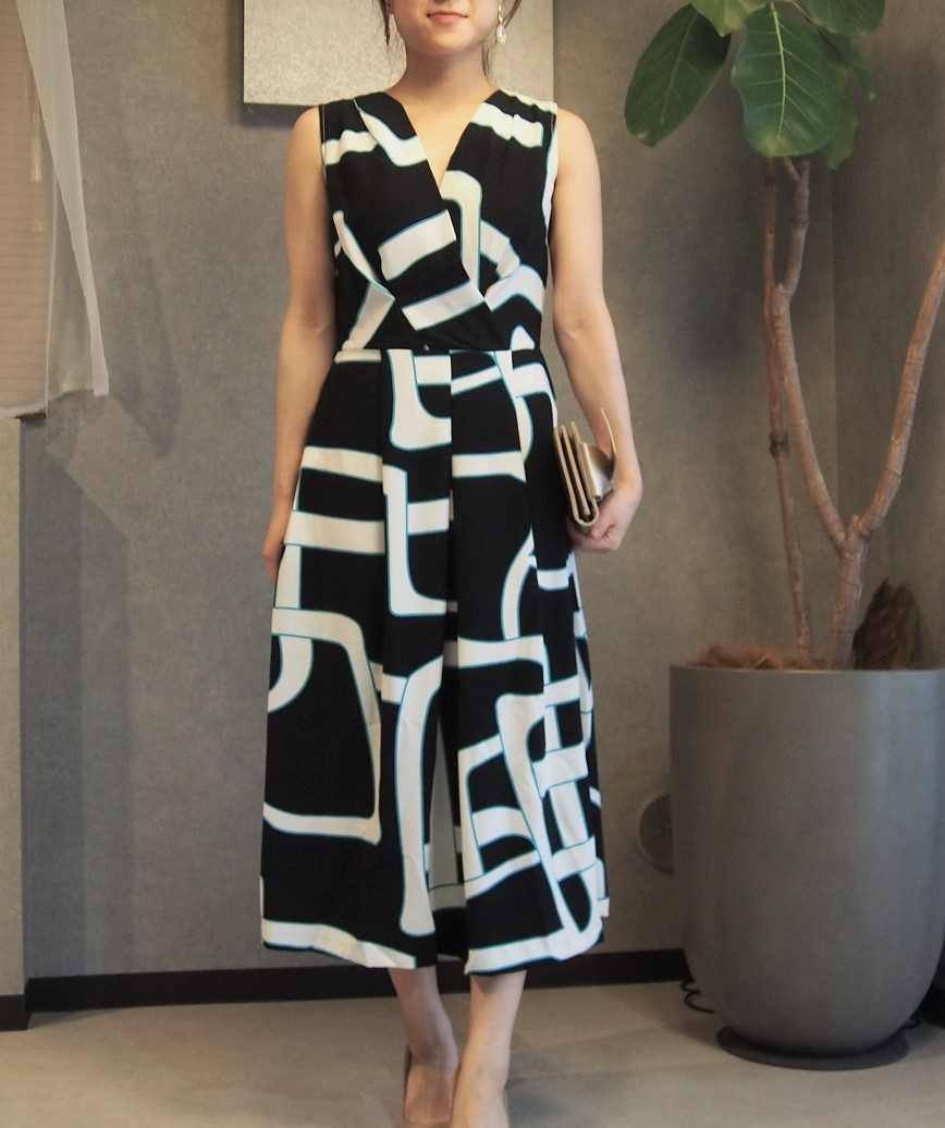 VネックフルパターンジオメトリーAラインミディアムドレス-ブラック-M