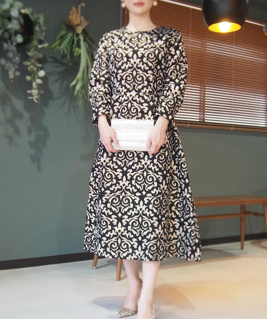 ゴールドフルパターンティックAラインミディアムドレス-ブラック-L