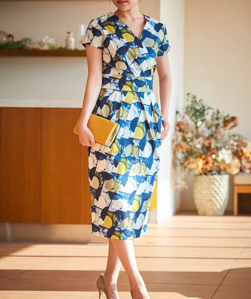 パターンプリントショートスリーブミディアムドレス―ネイビー-M