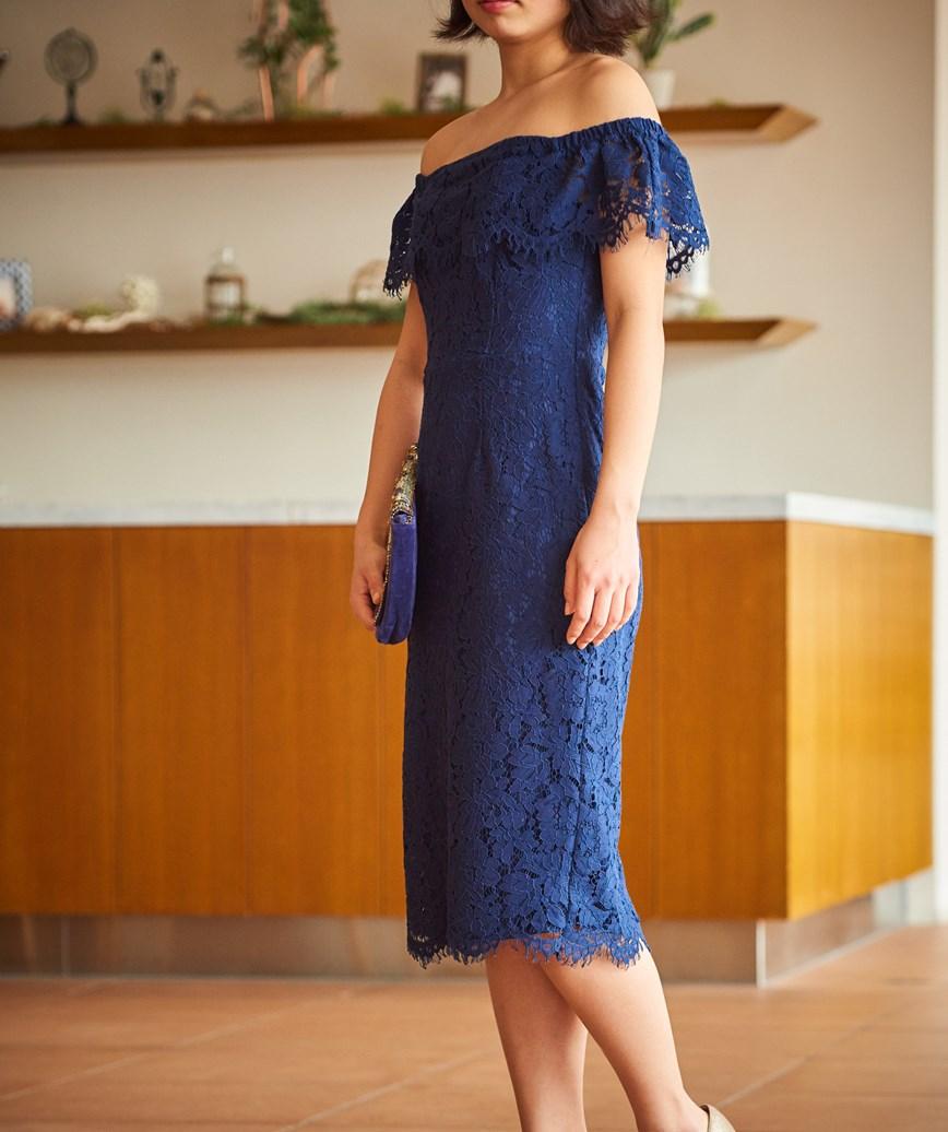 オフショルダーレースタイトミディアムドレス―ネイビー-M-L